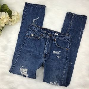 LEVIS 505 High Waist Distressed Straight Leg Jeans